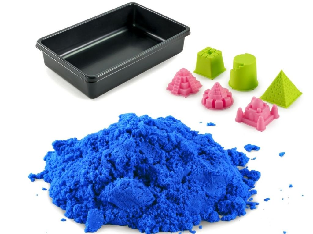 blue Kinetic sand and molds