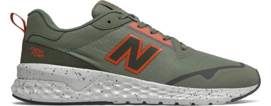 green and orange New Balance shoe