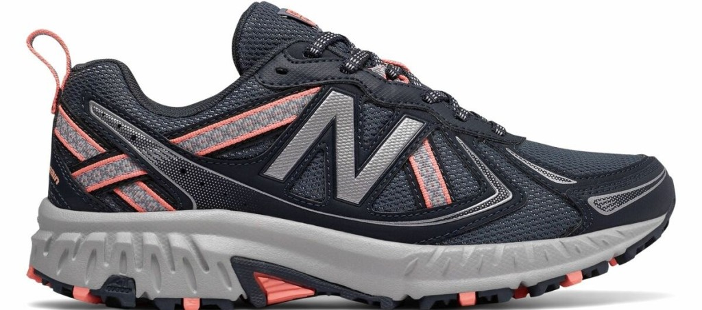 grey and pink trail running shoe