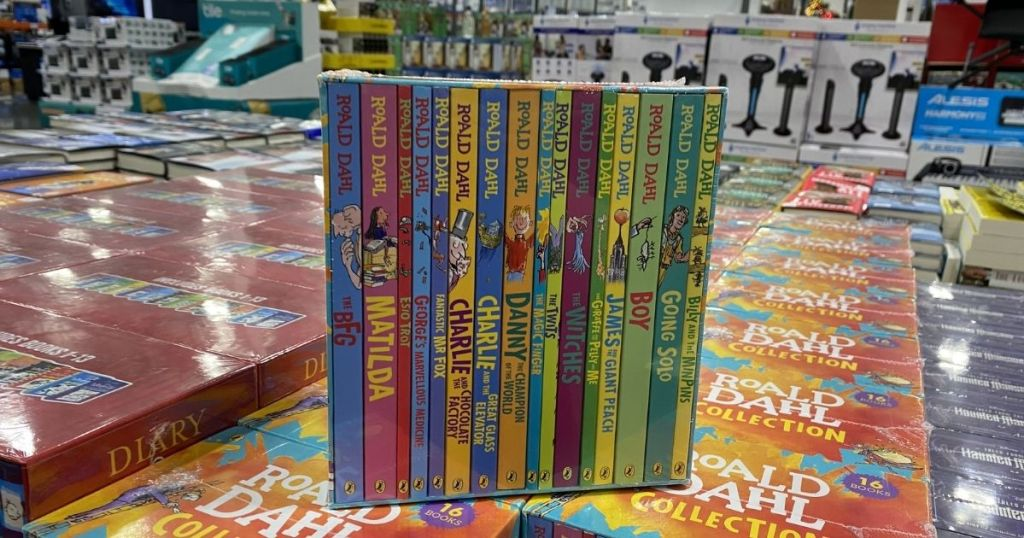 side view of New Roald Dahl Collection: 16 Book Box Set