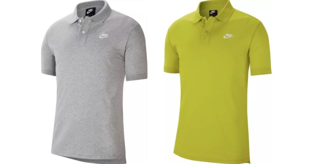 gray and olive nike polo