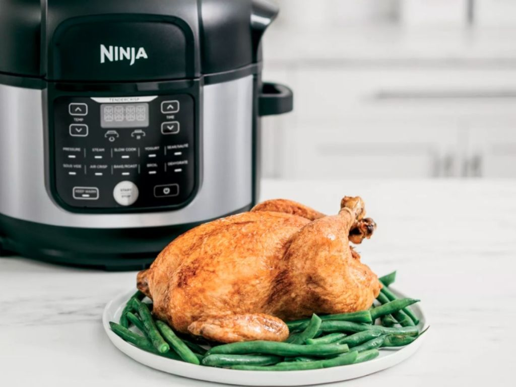 Ninja Foodi with turkey and green beans on plate in front of it