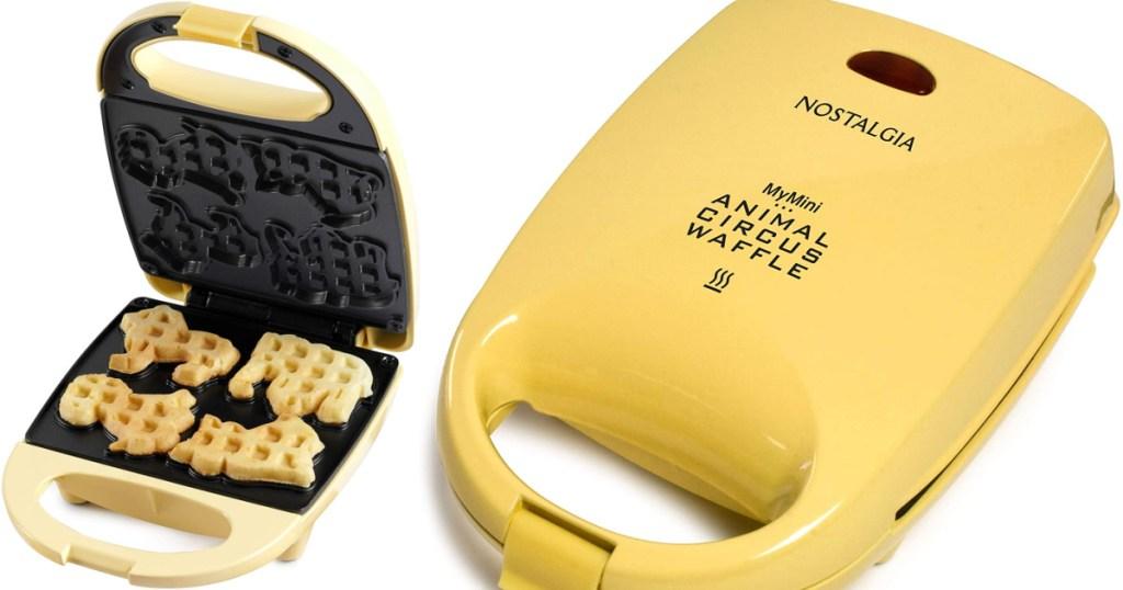 Two photos of nostalgia circus animal waffle maker open and shut