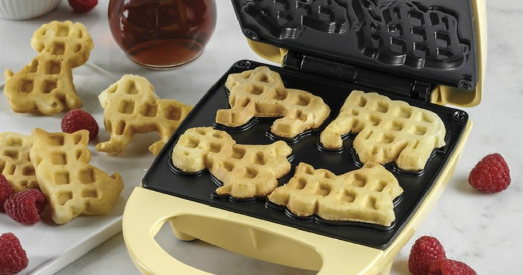 opened waffle maker with circus animals