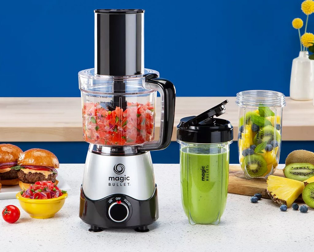nutribullet food processor and two smoothie cups on kitchen counter