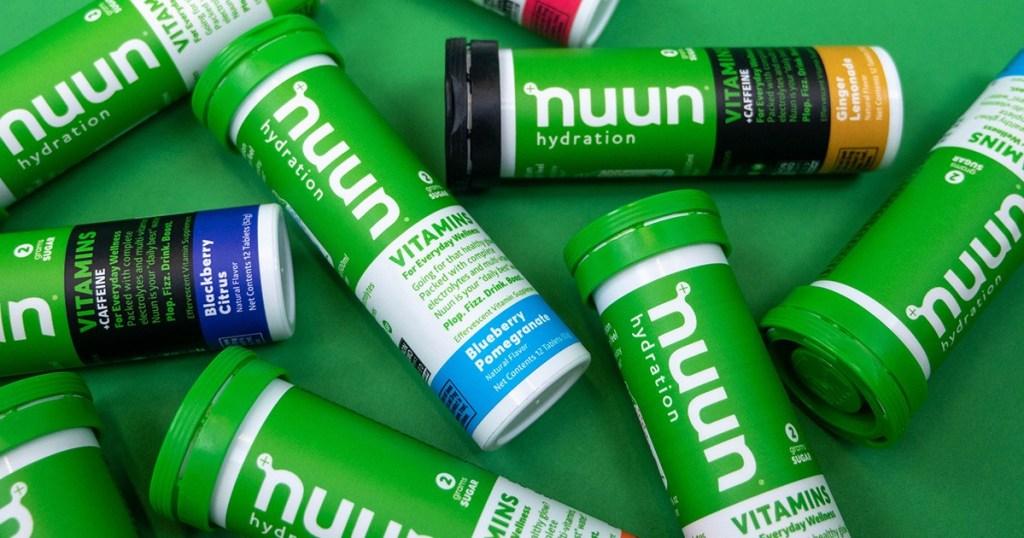 several Nuun vitamins tubes