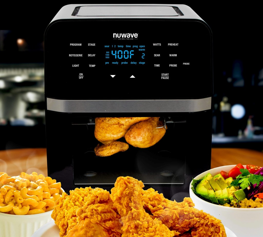 Nuwave Brio air fryer oven surrounded by food