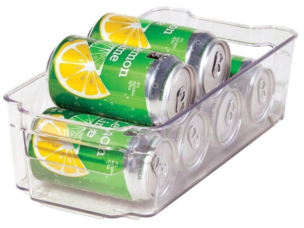 OGGI storage bin filled with soda cans
