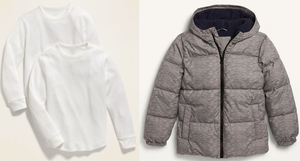 Old Navy Boys Thermal Shirts and Puffer Jacket