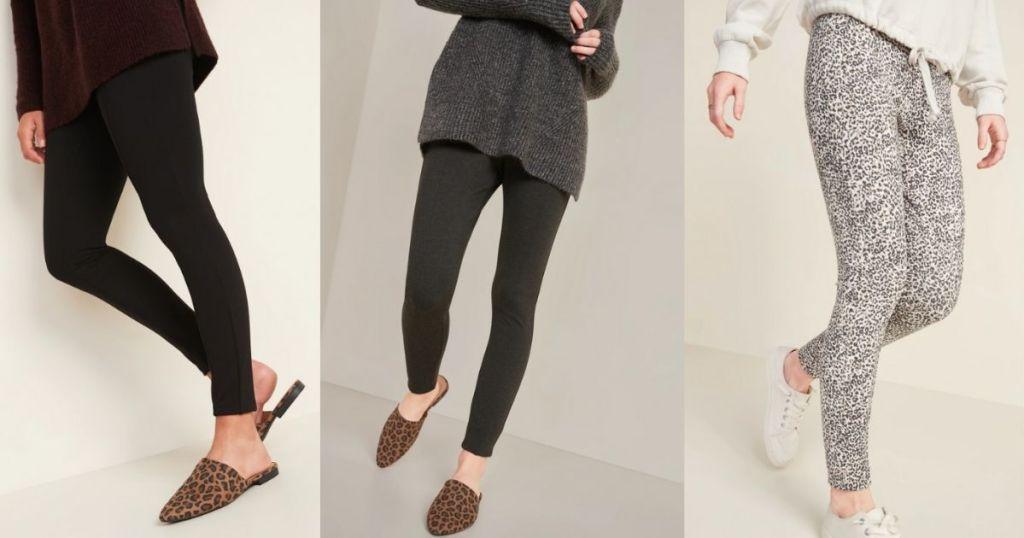 three women wearing leggings