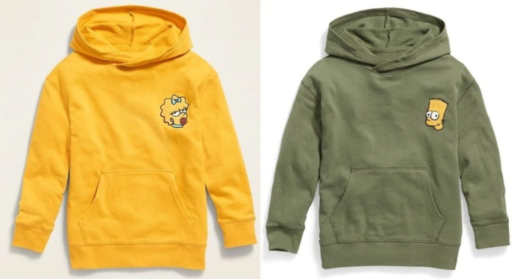 Two Old Navy x Popsugar Hoodies with The Simpsons Characters