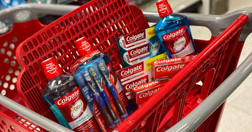 mouthwash and toothpaste in basket