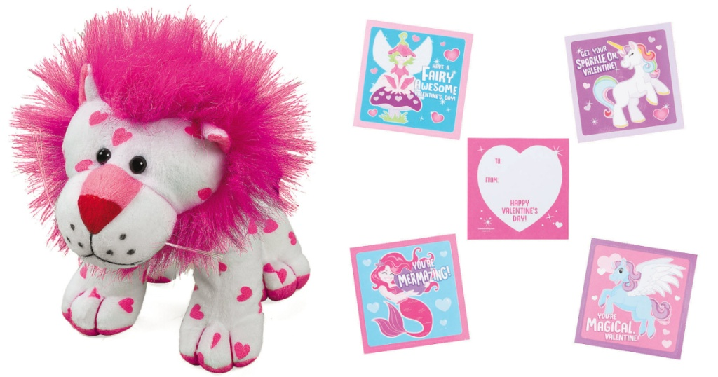 stuffed valentine lion and valentine stickers