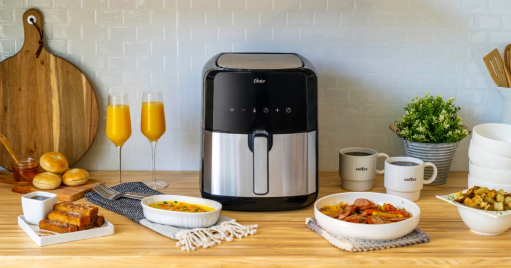 Oster DiamondForce XL Air Fryer sitting on a kitchen counter