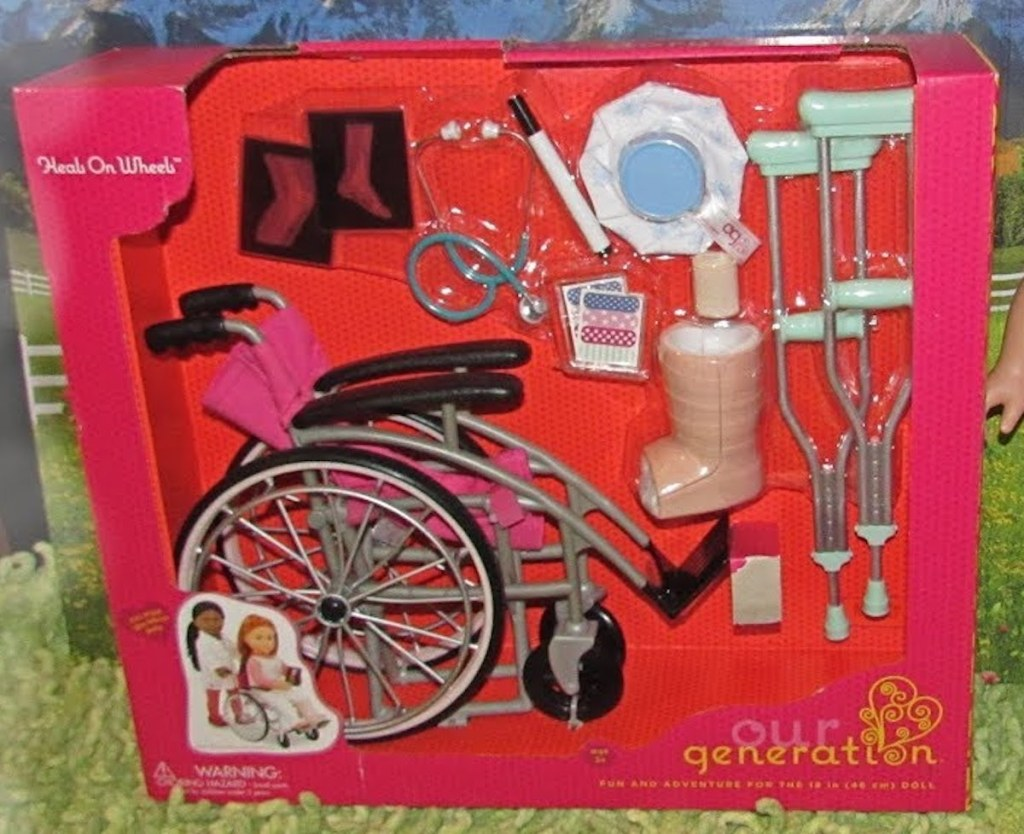 box of Our Generation Heals on Wheels - Wheelchair Accessory Set