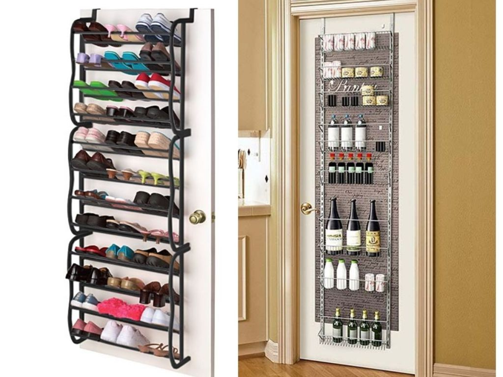 Over-Door organization for shoes and wine bottles