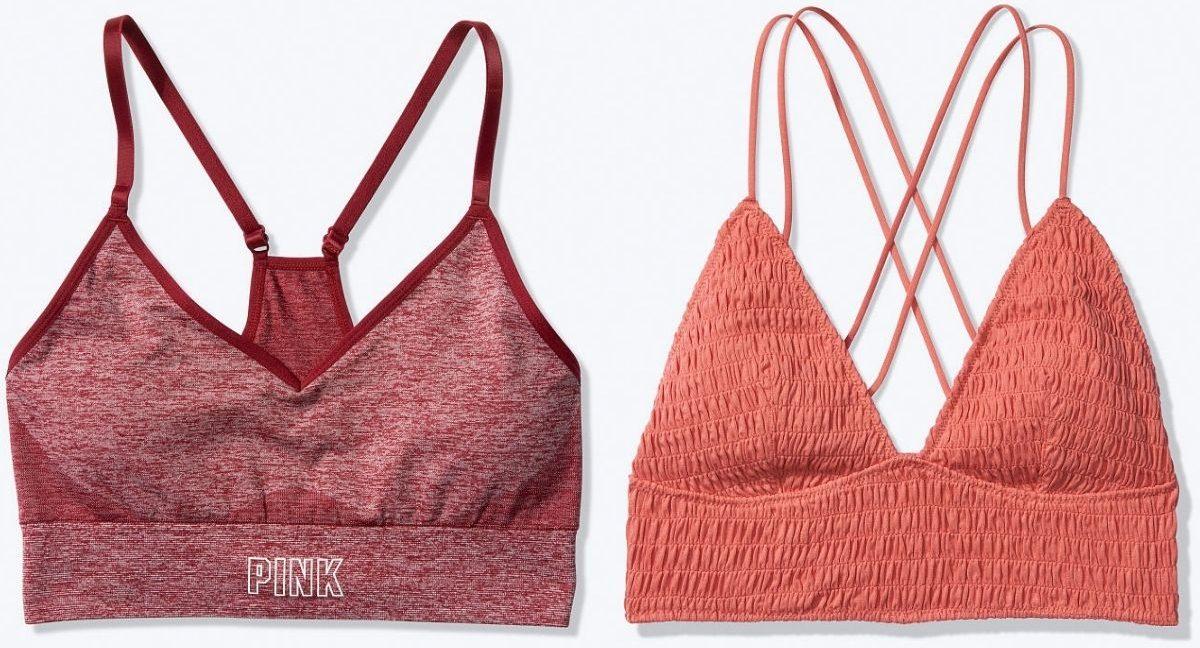 Pink sports bra and bralette