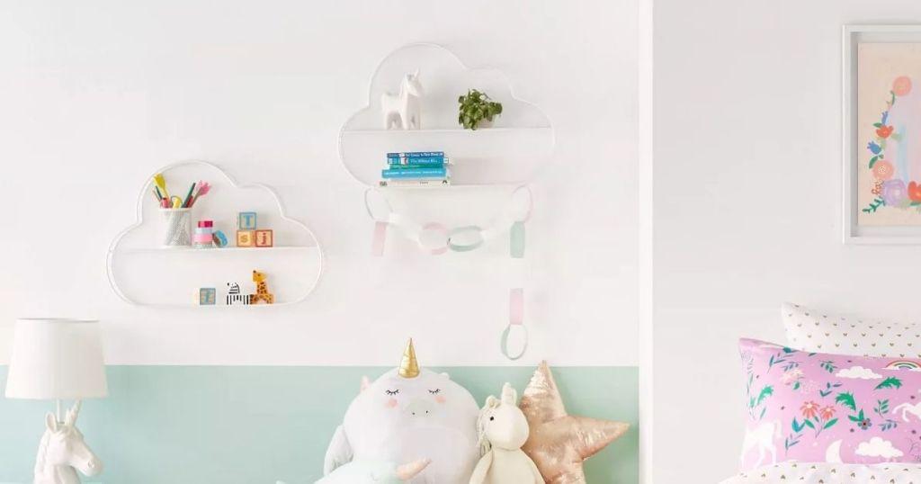 PIllowfort Cloud Shelf Wall Decor on bedroom wall