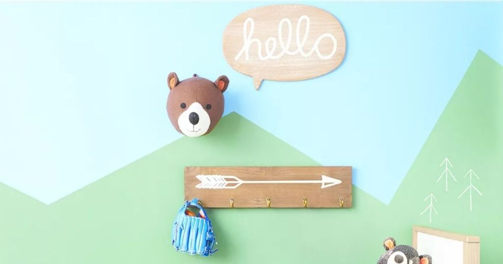 PIllowfort Wall Decor with bear head and other wall decor on child's bedroom wall
