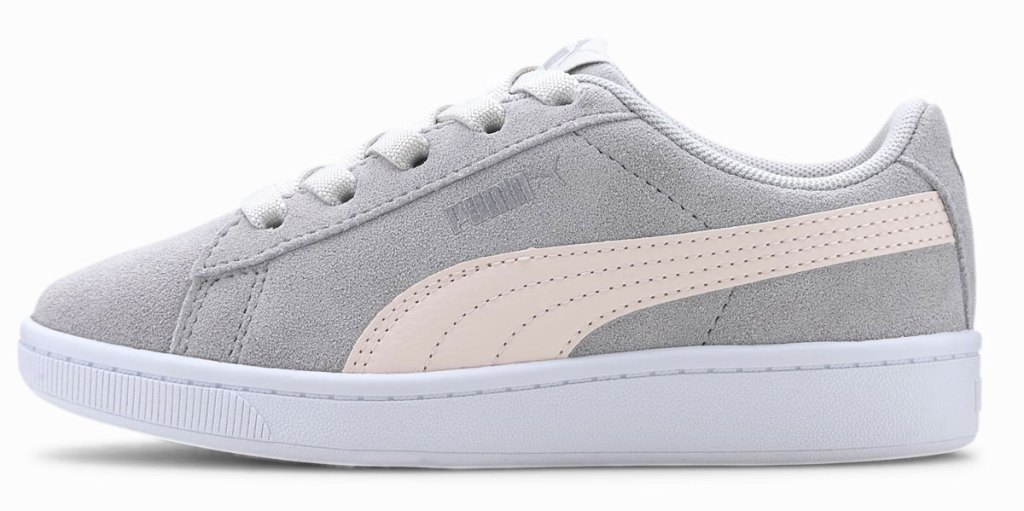 grey and light pink suede puma kids shoe
