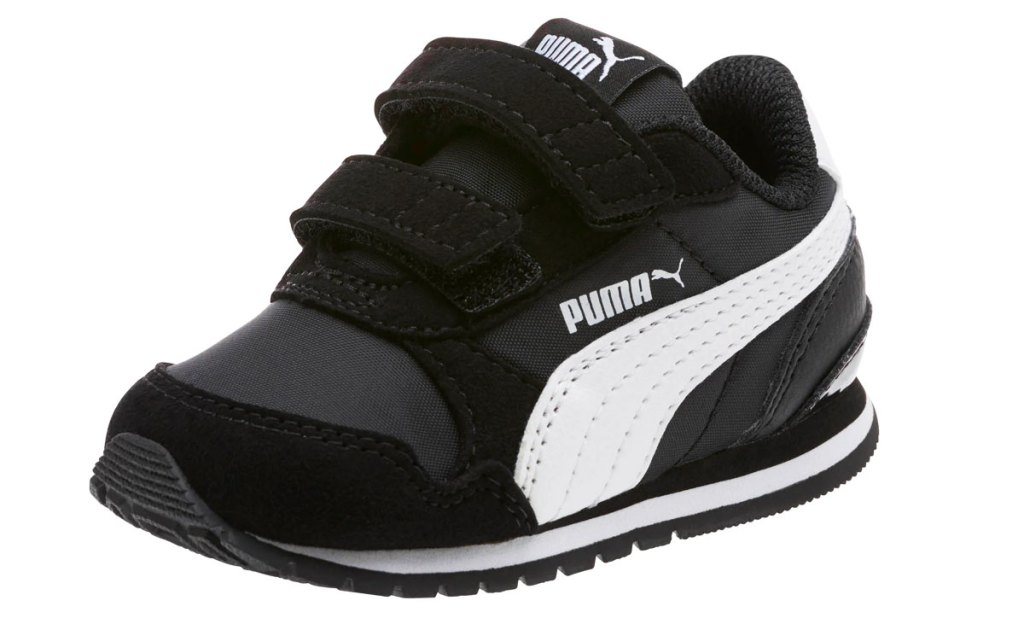 black and white velcro puma toddler shoe