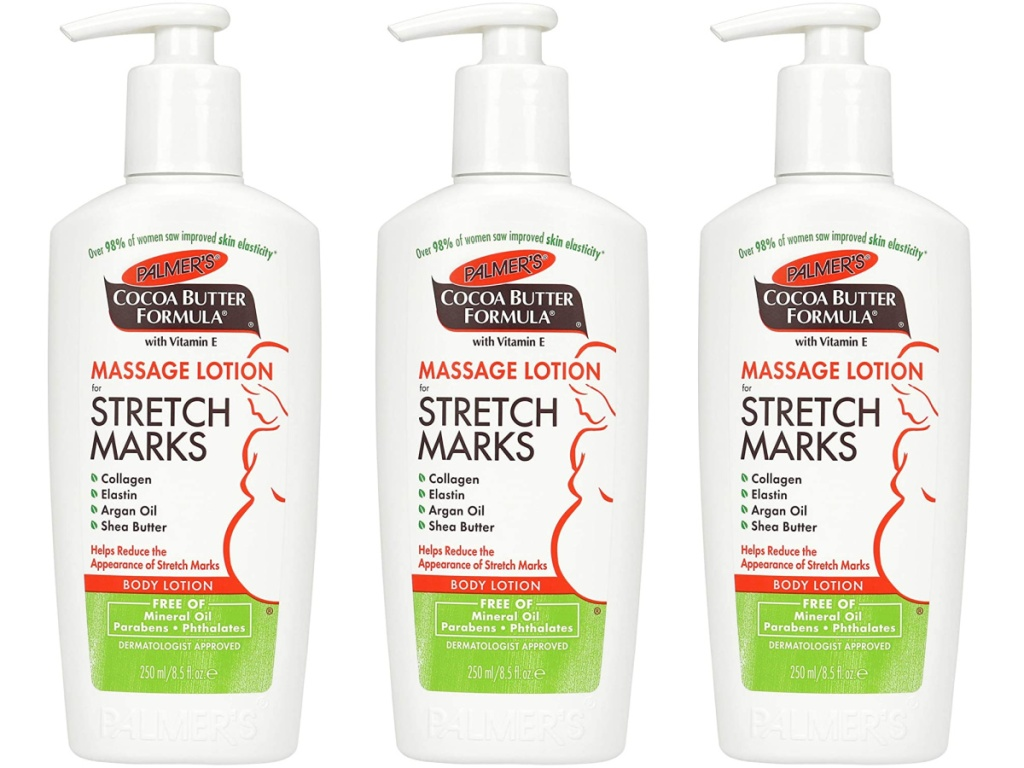 three bottles of cocoa butter stretch mark lotion