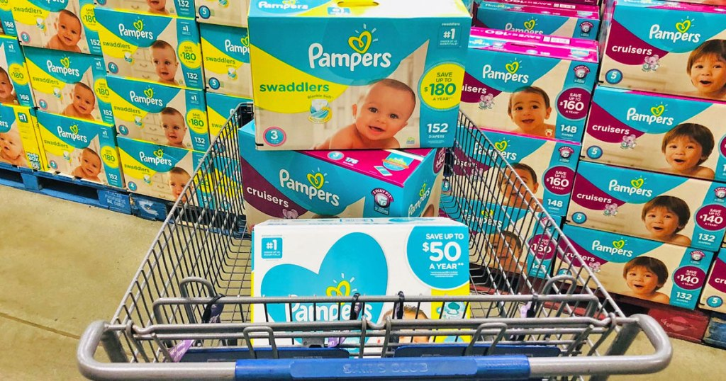 boxes of pampers diapers and wipes in a sam's club shopping cart