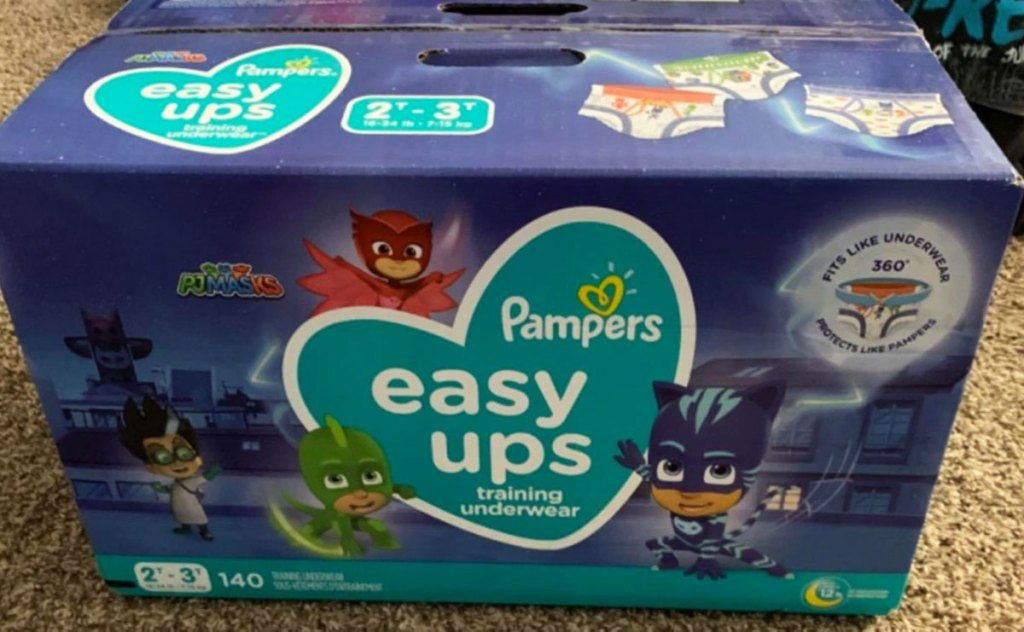 box of pampers easy ups with pj masks characters