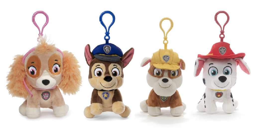 four Paw Patrol dog stuffed animal backpack clips