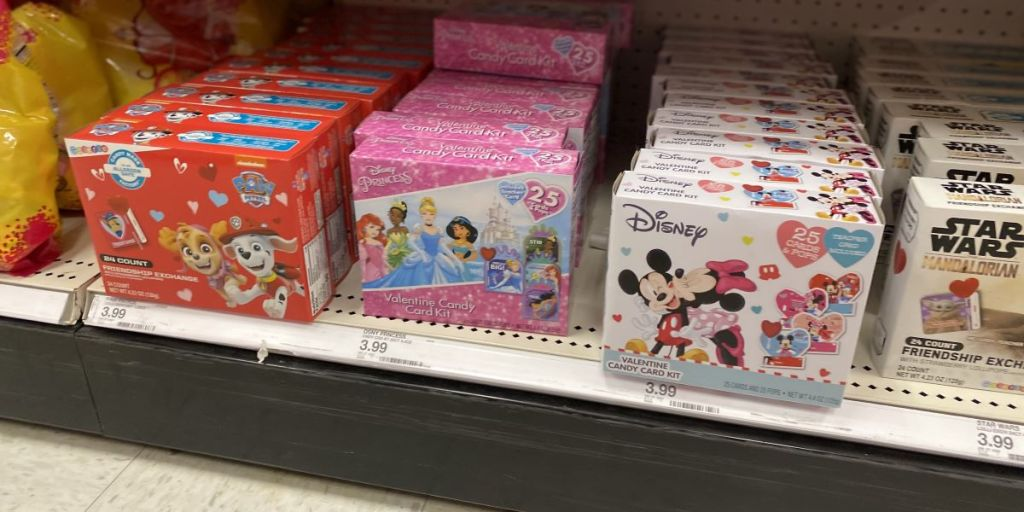 Paw Patrol and Disney Valentine's on a shelf at Target