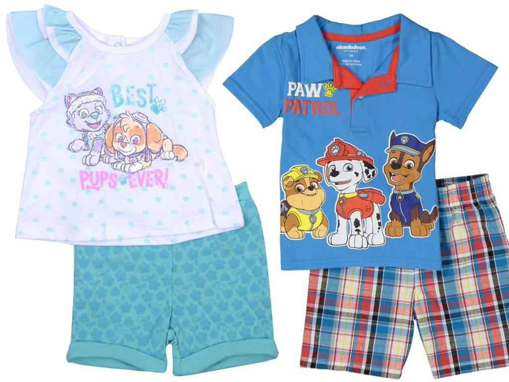 paw patrol two piece outfits for kids