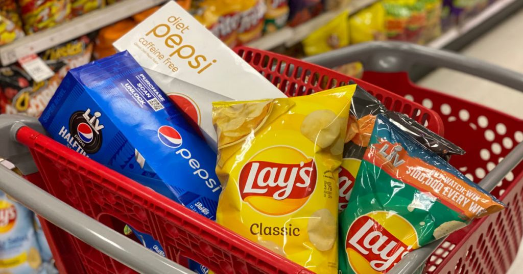 chips and soda in cart