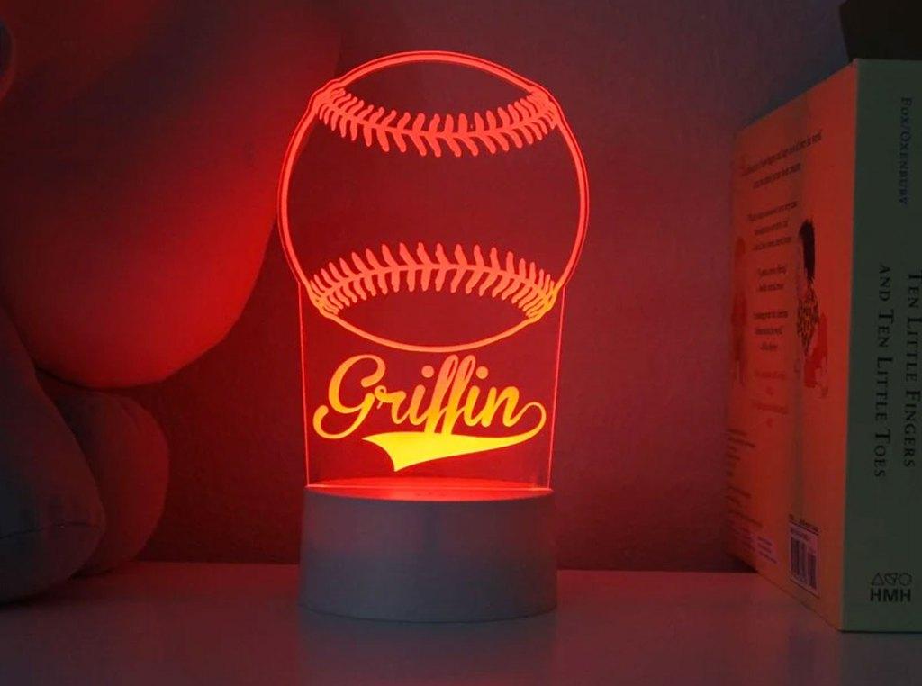 personalized baseball nightlight glowing red