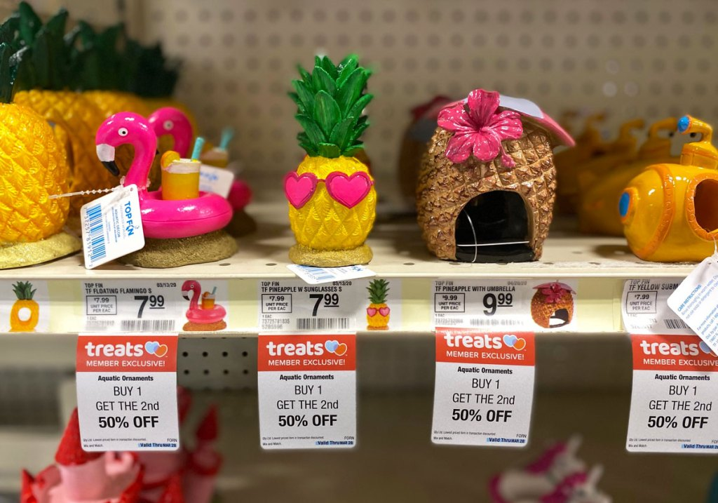 aquarium ornaments on shelf at petsmart with sale tags