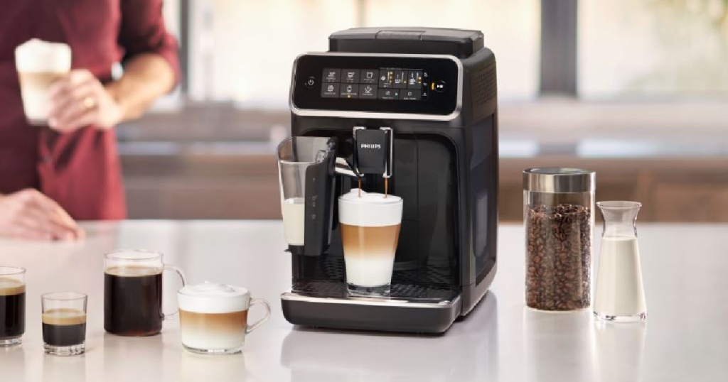 picture of phillips espresso machine on counter with various beverages made
