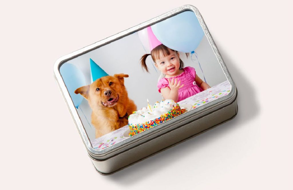 Small puzzle tin with personalize photo