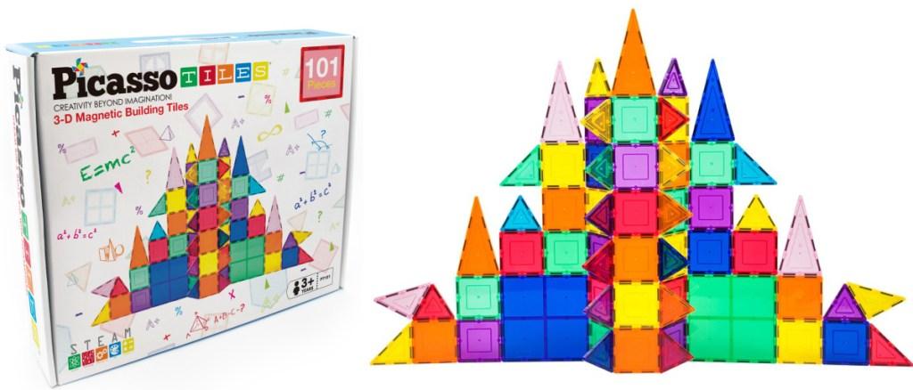 PicassoTiles 101-Piece 3D Magnetic Building Tile Play Set