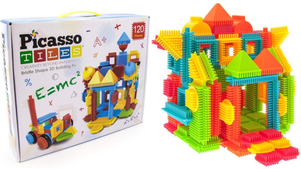 PicassoTiles 120-Piece Assorted Bristle Blocks Set