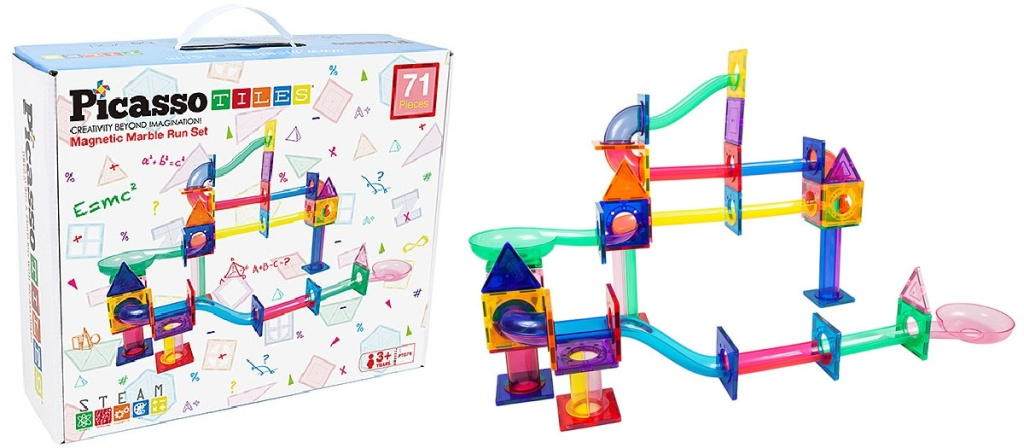 PicassoTiles Marble Run 71-Piece Magnetic Building Play Set