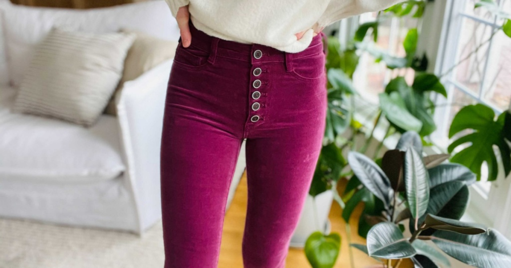 Pilcro High-Rise Button-Fly Skinny Corduroy Pants