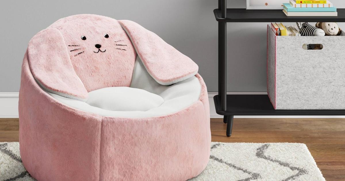 kids bean bag chair shaped like a pink bunny