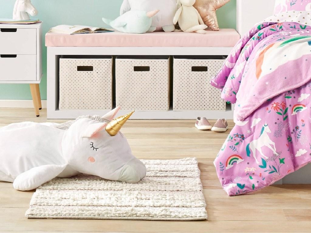 bedroom with unicorn decor
