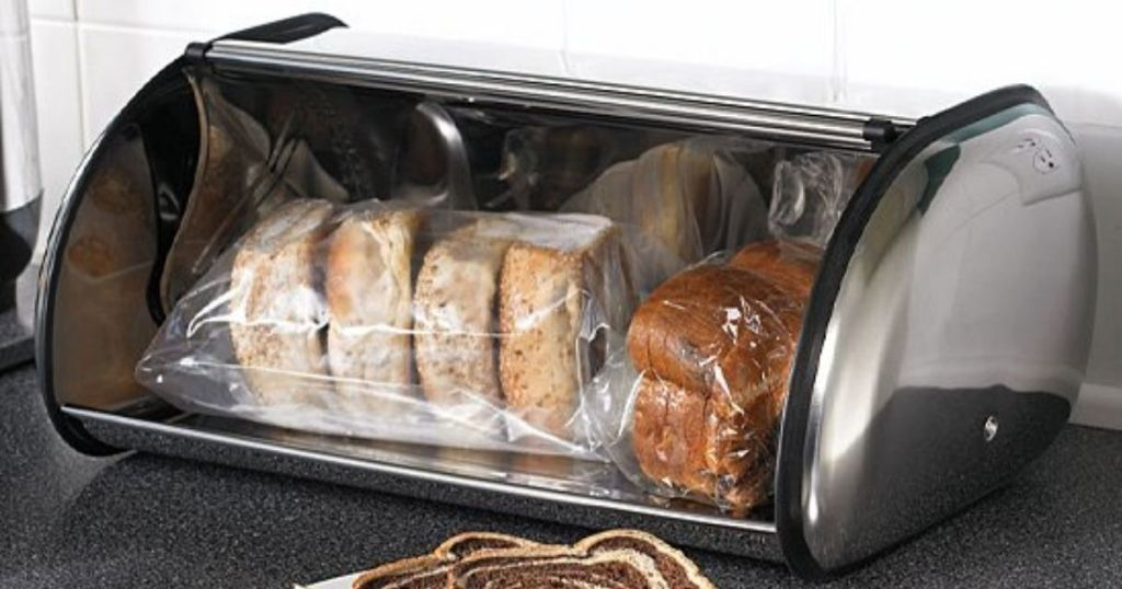 Polder Stainless Steel Bread Box on counter