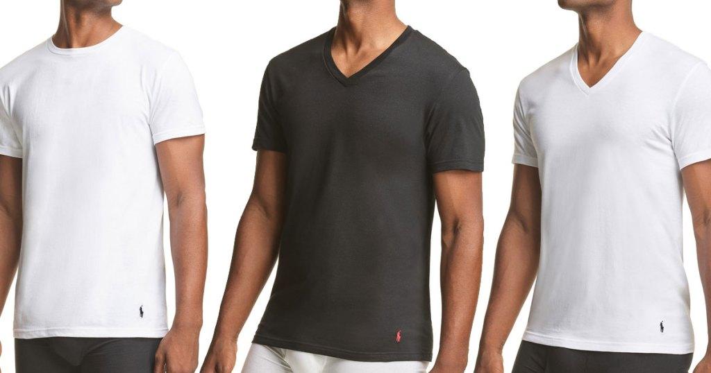 three men in white and black undershirts