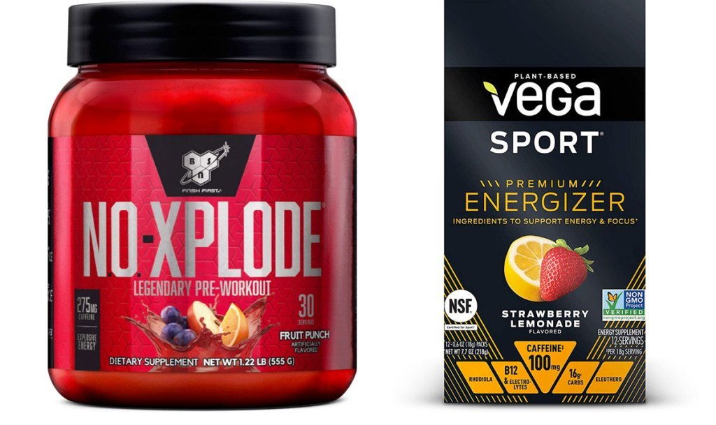red container of no-xplode pre-workout and black box of vega sport pre-workout
