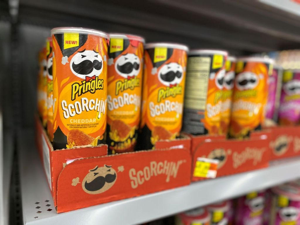 Pringles Scorchin Cheddar on a shelf at Walmart