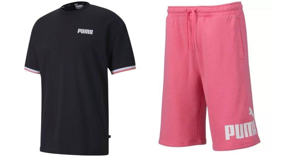 black and pink Puma Men's Shirt and Shorts