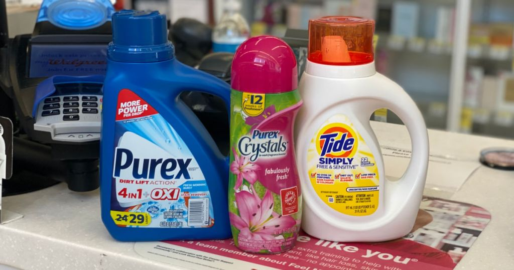 detergent and fabric softener on shelf