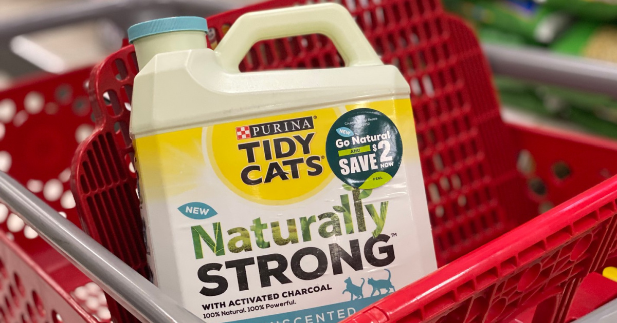 Purina Tidy Cats Naturally Strong Litter in Target cart