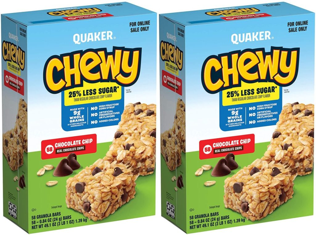 two boxes of chocolate chip granola bars